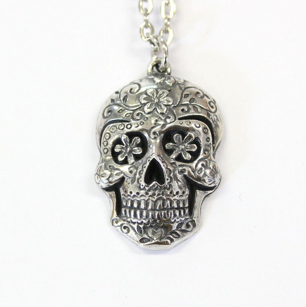 Sugar skull pendant necklace moon raven designs sugar skull pendant necklace moon raven designs mozeypictures Images