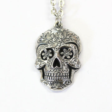 Sugar Skull Pendant Necklace - Moon Raven Designs