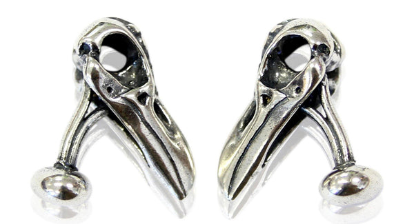 Raven Skull Cufflinks Ornate Silver Raven Skull Cuff Links - Moon Raven Designs