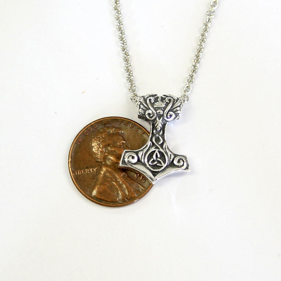Ladies Mjolnir Necklace Ladies Thors Hammer in Solid Sterling Silver - Moon Raven Designs