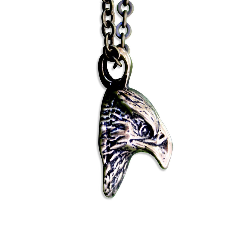 Hawk Head Necklace Pendant - Moon Raven Designs