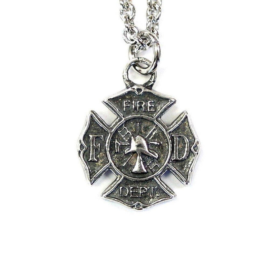 Firefighter Emblem Necklace Fire Dept. Pendant - Moon Raven Designs