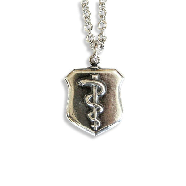 Rod of Asclepius Shield Pendant Necklace