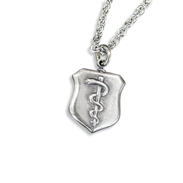 Rod of Asclepius Shield Pendant Necklace - Moon Raven Designs