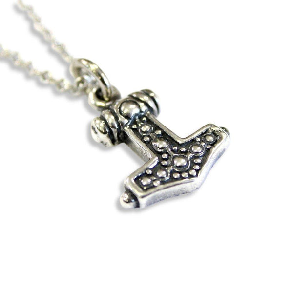 Ladies Mjolnir Necklace Solid Sterling Silver Thors Hammer in Solid Sterling Silver Hobnail Design - Moon Raven Designs