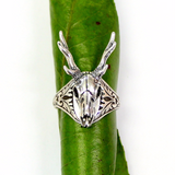 Silver Stag Deer Skull Ring Antler Animal - Moon Raven Designs