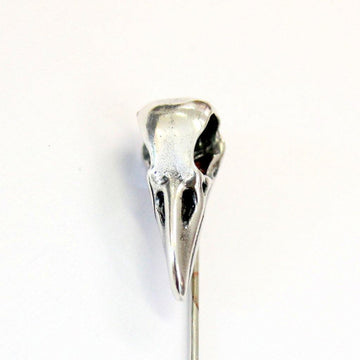 Sterling Silver Raven Skull Ascot Pin Crow Skull Stickpin Bird Skull Stick Pin Woodland Raven Skull Lapel Pin - Moon Raven Designs