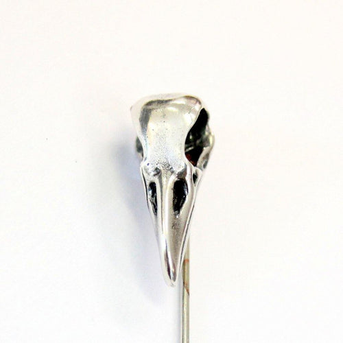 Sterling Silver Raven Skull Ascot Pin Crow Skull Stickpin Bird Skull Stick Pin Woodland Raven Skull Lapel Pin