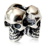 Triple Skull Charm - 925 Sterling Silver European Style Bracelet Bead - Fits: Pandora, Chamilia & Compatible Brands - Moon Raven Designs