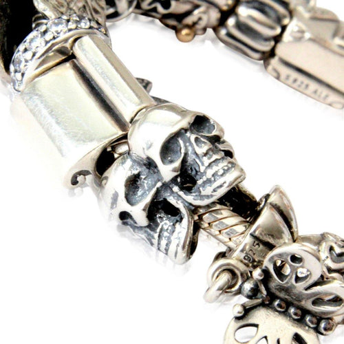 Triple Skull Charm - 925 Sterling Silver European Style Bracelet Bead - Fits: Pandora, Chamilia & Compatible Brands
