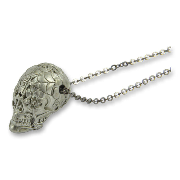 Sugar Skull  Necklace Day of the Dead Pendant - Moon Raven Designs