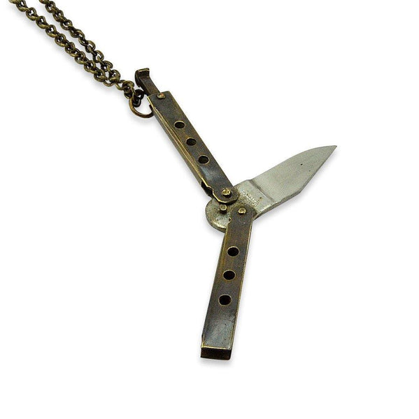 Vintage Street Fighters Brass Baby Butterfly  Knife Necklace - Moon Raven Designs