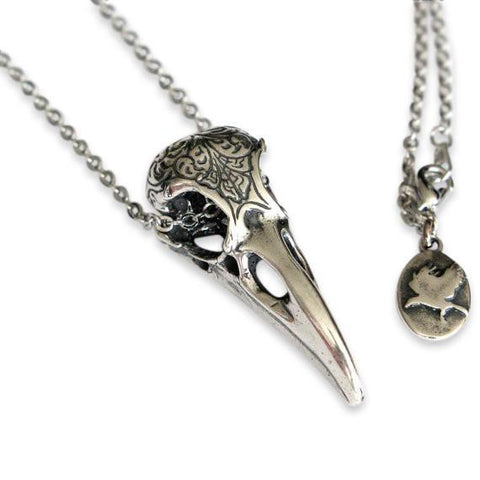 Engraved Raven Skull Pendant Necklace - Moon Raven Designs