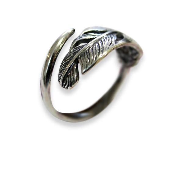 Silver Long Quilled Feather Ring