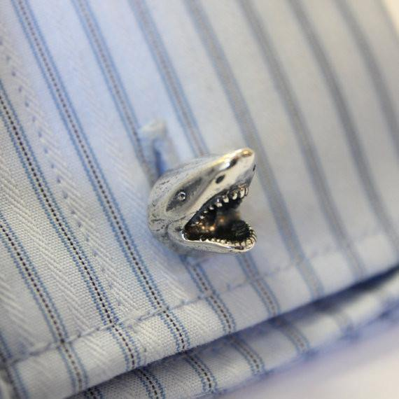 Great White Shark Head Cufflinks - Moon Raven Designs