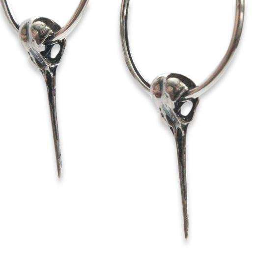 Hummingbird Skull Hoop Earrings - Moon Raven Designs