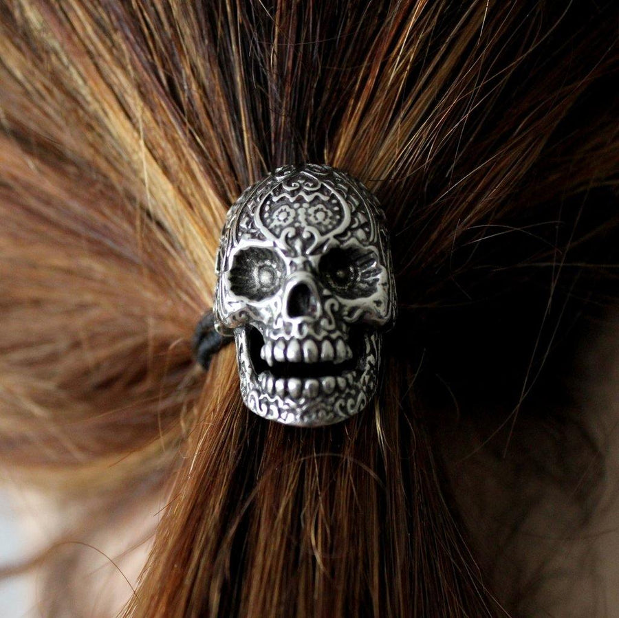 Sugar Skull Ponytail holder Silver Sugar Skull Hair Tie - Moon Raven Designs