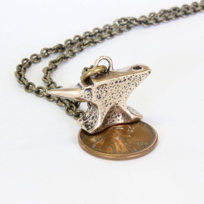Solid Bronze Anvil Necklace Blacksmiths Anvil Pendant Anvil Jewelry - Moon Raven Designs