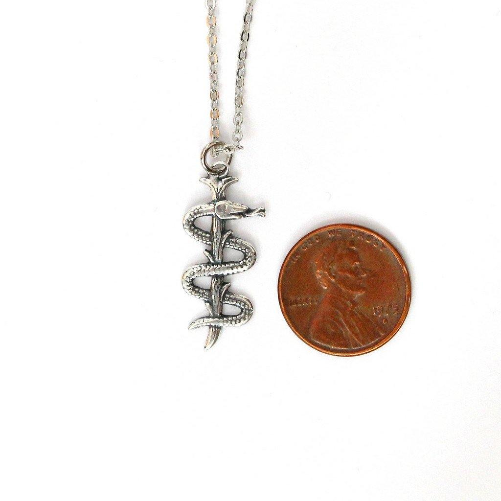 Rod Of Asclepius Pendant Necklace - Moon Raven Designs