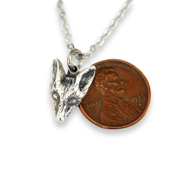 Little Fox Face Pendant Necklace - Moon Raven Designs