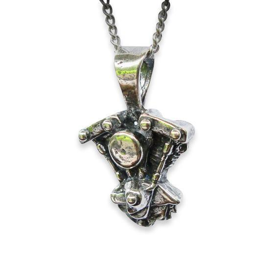 Silver Motorcycle Engine Pendant Harley Davidson V Twin Shovelhead Motorcycle Engine Necklace - Moon Raven Designs