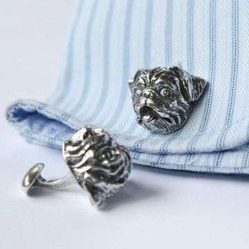 Silver Pug Dog Cufflinks - Moon Raven Designs