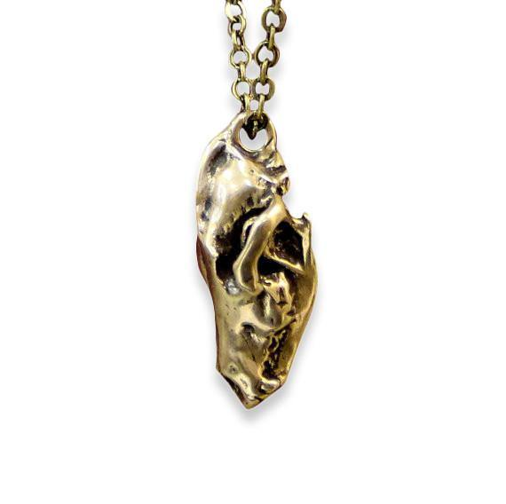 Wolf Skull Pendant Necklace - 3D Bronze Miniature - Moon Raven Designs
