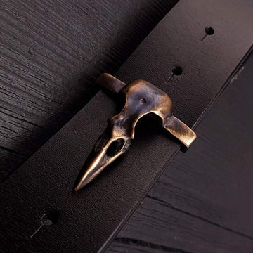 Crow Skull Belt Buckle Solid Hand Cast Bronze Fits 1.5 Inch Belt Oxidised Antique Finish Raven Skull - Moon Raven Designs
