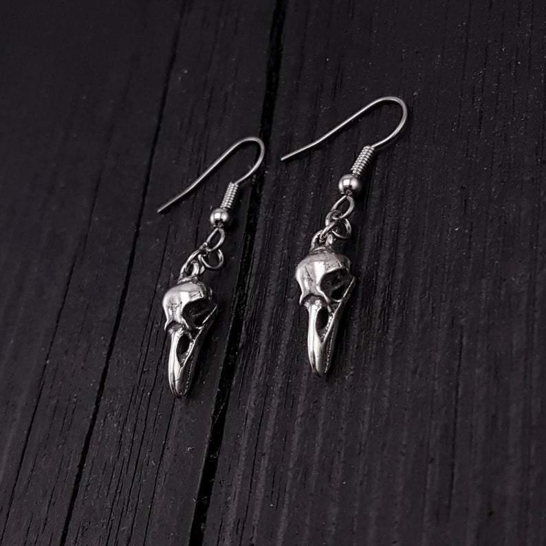 Sterling Silver Raven Skull Earrings Solid Hand Cast 925 Sterling Silver Surgical Stainless Steel Hooks - Moon Raven Designs