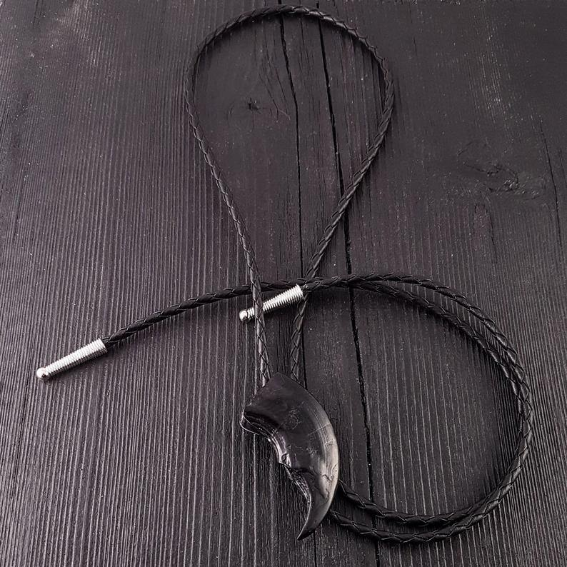 Black Bear Claw Bolo Tie Hand Cast Onyx Resin Black Braided Cord with Silver Tips - Moon Raven Designs