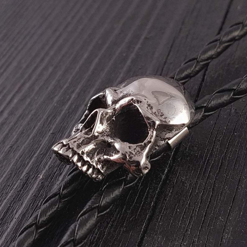 "Human Skull Bolo Tie Solid Hand Cast Stainless Steel 42"" Braided Cord - Moon Raven Designs"