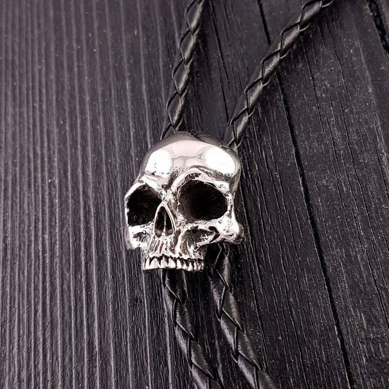 Human Skull Bolo Tie Solid Hand Cast Stainless Steel 42
