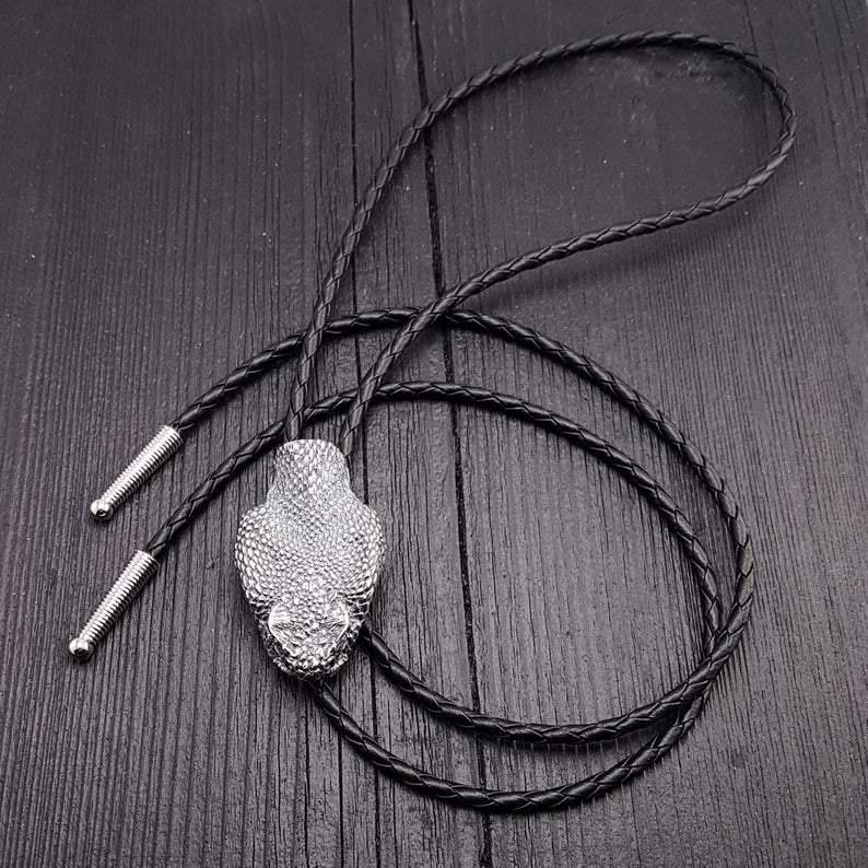 Silver Rattlesnake Bolo Tie Life Size Silver Plated Bronze Black Braided Cord with Silver Tips - Moon Raven Designs