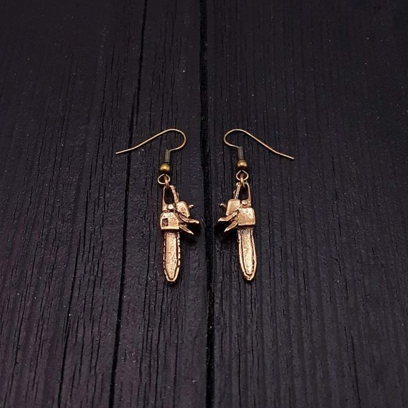 Chainsaw Dangle Earrings Solid Hand Cast Jewelers Bronze Polished Oxidised Finish Three Dimensional - Moon Raven Designs