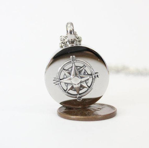 Sterling Silver Compass Rose Urn Necklace Cremation Urn Nautical Pendant Memorial Ash Keepsake Key Chain Option