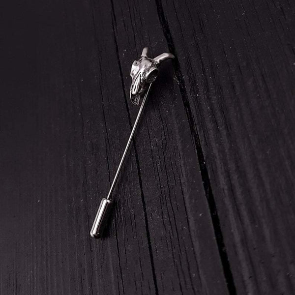 Ram Skull Ascot Stick Pin Solid 925 Sterling Silver - Moon Raven Designs