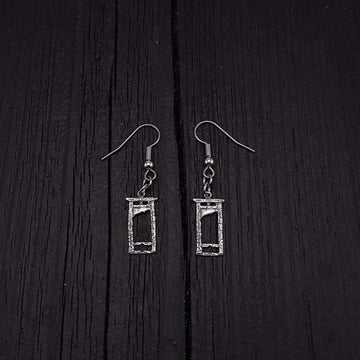 Tiny Guillotine Earrings - Solid Hand Cast 925 Sterling Silver on Stainless Steel Hooks - Moon Raven Designs