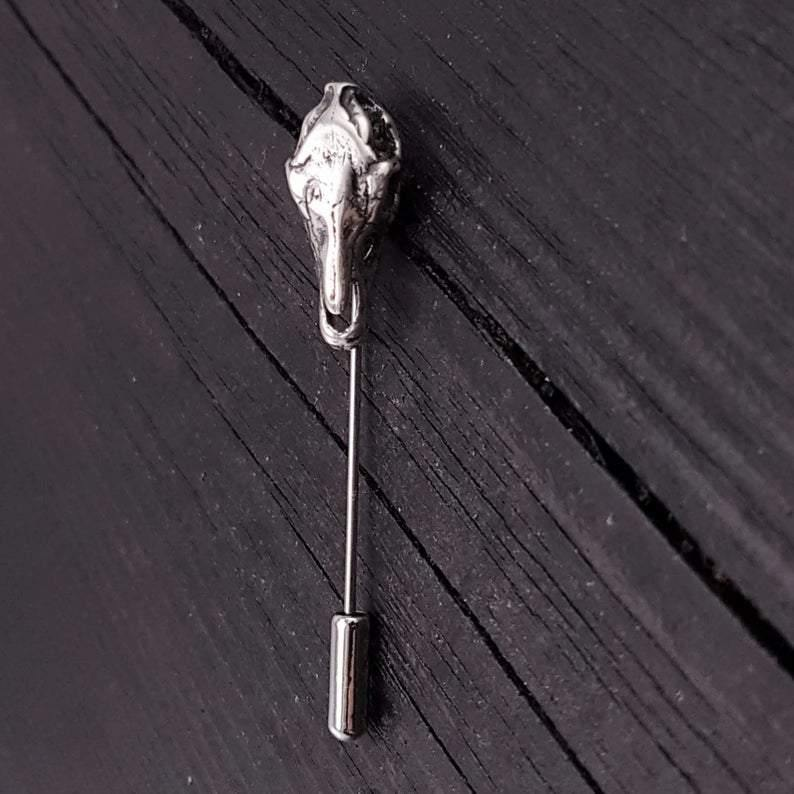 Horse Skull Ascot Lapel Pin Hand Cast 925 Sterling Silver - Moon Raven Designs