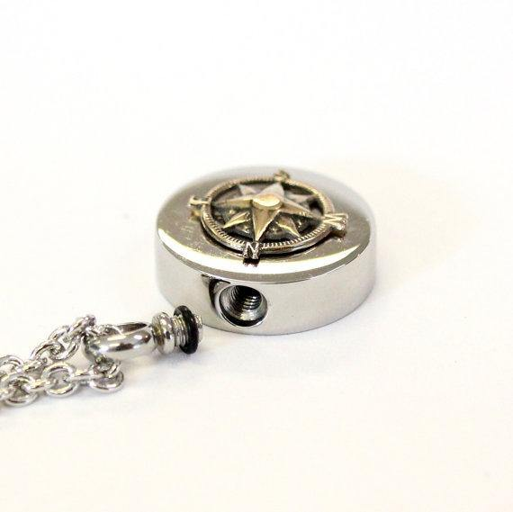 Bronze Compass Rose Cremation Urn Pendant - Moon Raven Designs
