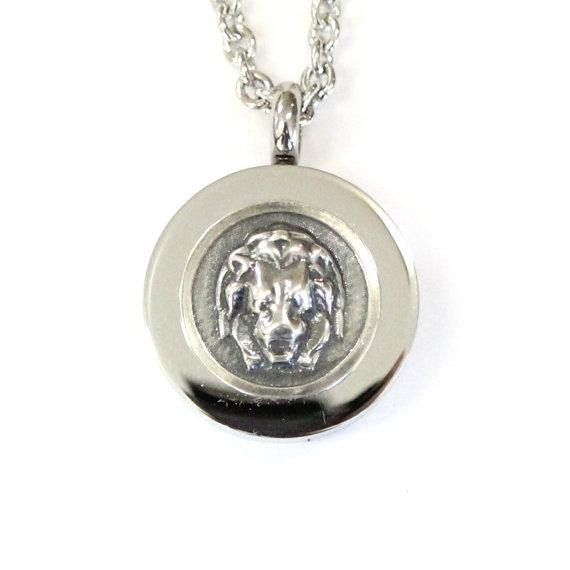 Sterling Silver Lion Head Cremation Urn Pendant - Custom Engraving Available - Moon Raven Designs