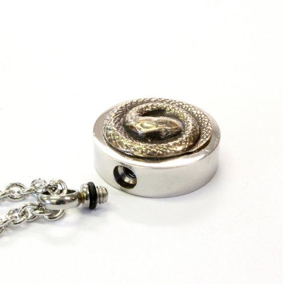 Bronze Snake Urn Necklace Cremation Urn Pendant - Moon Raven Designs
