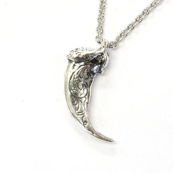 Engraved Sterling Silver Wolf Claw Necklace Wolf Claw Pendant Necklace