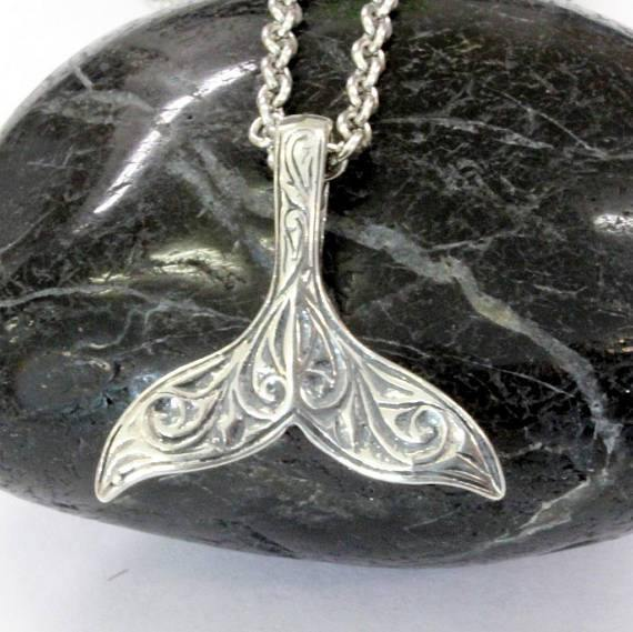 Engraved Whale Fluke Necklace Mermaid Tail Pendant in 925 Sterling Silver - Moon Raven Designs