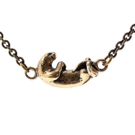 Floating Otter Charm Necklace - Moon Raven Designs