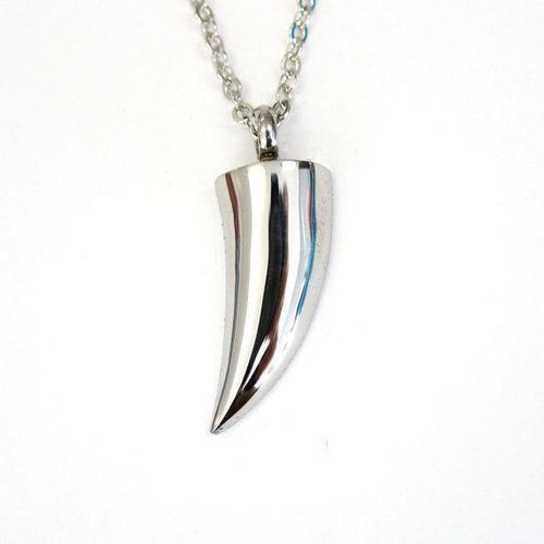 Wolf Tooth Necklace Urn Necklace Silver Wolf Fang Cannister Vial Necklace Cremation Urn