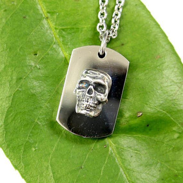 Silver Skull Necklace Cremation Urn Pendant - Custom Engraving Available - Moon Raven Designs