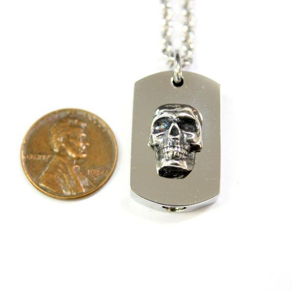 Silver Skull Necklace Cremation Urn - Moon Raven Designs