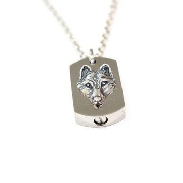 Silver Wolf Cremation Urn Pendant - Custom Engraving Available - Moon Raven Designs