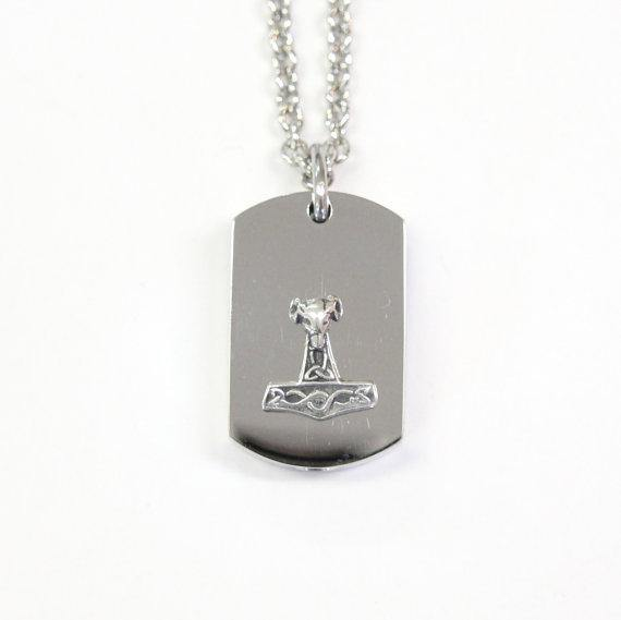 Silver Rams Head Thors Hammer Cremation Urn Pendant  - Custom Engraving Available - Moon Raven Designs