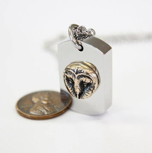 Barn Owl Necklace Cremation Urn Pendant Memorial Ash Keepsake Stash Vial
